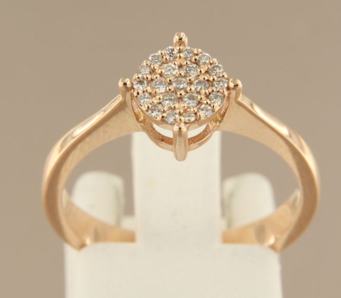 14 kt rose gold ring set with 21 brilliant cut diamonds of 0.15 ct, ring size 17.25 (54)