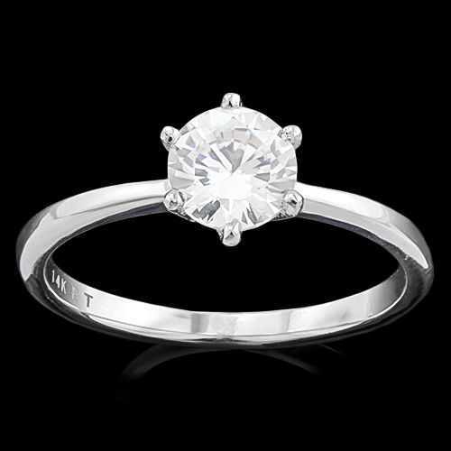 Created Moissanites 14K White Gold Ring - 7 (US)