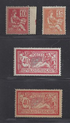 France 1900 - Type Moushon and Merson - Yvert n° 116, 117, 119 + 119d (papier GC)
