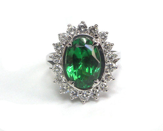 Golden Cluster Tsavorite and Diamond Ring