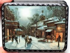 "Russian lacquer box - ""Fedoskino"" – Series Old Moscow nr. 4"