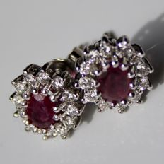 White gold earrings with natural oval cut Ruby and 24 natural diamonds G-H/VVS1-VS; approx. 1.61 Ct. total