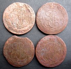 Russia - 5 kopeks 1763, 1764, 1765 and 1767
