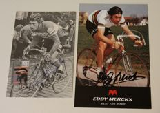 Original signatures of Eddy Merckx and Freddy Maertens