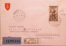 Trieste A, 1954 - 200 lire - Italy at Work - Olive brown - Sassone catalogue 107 A - on envelope