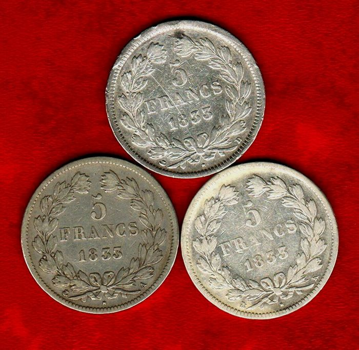 France – 5 Francs 1833-A, 1833-D, and 1833-K (set of 3 coins) – Louis Philippe I – Silver.