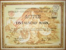 Germany - Rhine-Westphalian Land Credit Bank - DECO Aktie Share 1000 Marks Cologne 1905