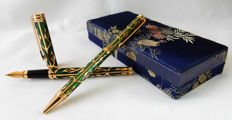 Luxury Enameled Ballpoint Pen and Penholder In Case- Superb