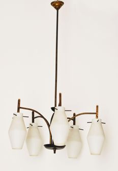 Unknown designer – Chandelier with five lamps – 1960s – Italian chandelier