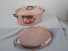 Made in France - large oval thick walled copper pan with lid 30 cm and 3.35 kg - thick walled copper oven dish baking dish 35 cm and 1.4 kilos