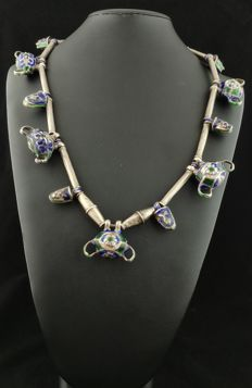 Antique silver necklace with coloured elements and enamels - China, early 1900s