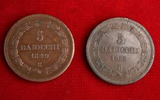 Pontifical States - 2 coins of 5 baiocchi, 1849/1852, Rome and Bologna, Pius IX.