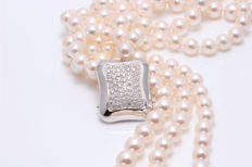 3-row 7.5x8mm 8x8.5mm and 9x9.5mm Japanese Akoya pearl necklace, Large clasp of 18K white gold with 0.9CT VS diamonds!