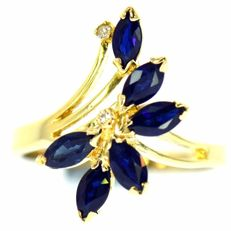 Yellow gold ring with sapphires and diamonds of 1.50ct in total, - no reserve price -