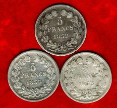 France - 5 Francs 1832-A, 1832-T, and 1833-A (set of 3 coins) - Louis Philippe - Silver.