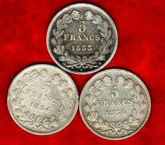 France – 5 Francs 1833-B, 1834-B, and 1834-T (set of 3 coins) – Louis Philippe I – Silver.