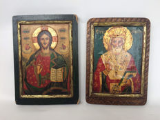 2 large hand-painted icons - early 20th century