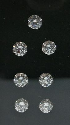 Lot of 7 Round cut diamonds total 0.79 ct D-E VVS-VS