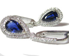 Pair of 1.31 ct Sapphire Pear shape and Diamond Earrings