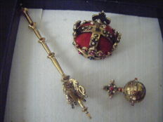 Miniature crown jewels - Sceptre/ Crown/ Globe.