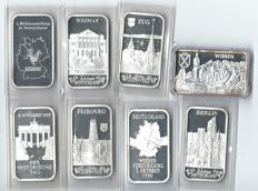 Investment silver 8 x 31,1 grams great motifs 8x1 oz 999/1000 oz fine silver see photos KMS Koblenz