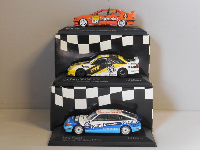 Minichamps - Scale 1/43 - Lot with 3 sports car models: BMW, Opel & Rover