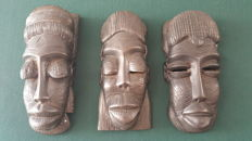 3 African tribal masks wood iron  20 thC