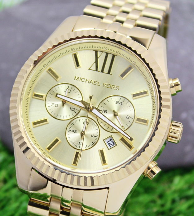 c986aed2b3ca Michael Kors MK8281 Lexington Gold Plated Mens Chronograph Watch - New    Mint condition