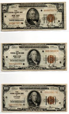 USA - 470 dollars 1929 National Currency - 2 x 5, 9 x 10, 6 x 20, 1 x 50 and 2 x 100 dollars - Pick 395, 396, 397, 398 and 399