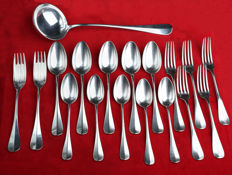18 Silver plated flatware early 20th century Christofle model uniplat old Paris
