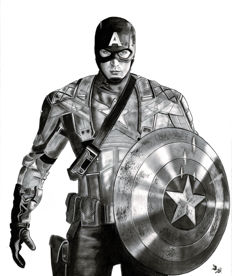 Diego Septiembre - Original Charcoal And Graphite Drawing - Captain America