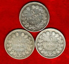 France – 5 Francs 1834-H, 1835-A, and 1835-K (set of 3 coins) – Louis Philippe I – Silver