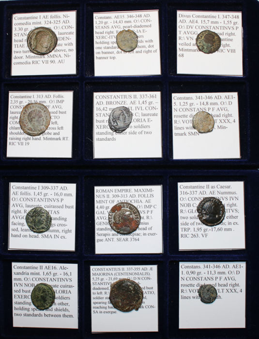 Lot of 12 Roman Emperors Coins - Constatine I the Great, Constans, Constantius II, Constantine II, Maximinus II