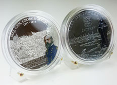 """Cook Islands - 5 Dollars 2009 and 2010 """"Meade George & Zutphen"""" (2 coins - Silver (25 g)."""