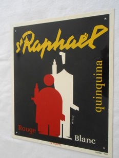 St RAPHAËL quinquina - Silkscreen-printed  sheet metal - end of the 1940s.