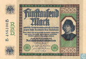 Banknotes - Reichsbanknote - Germany 5000 Mark (P77 - Ros.76)