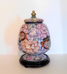 Cloisonné lidded jar on wooden base - China - 2nd half of the 20th century