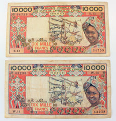 West African States - 2 x  10,000 Francs ND - Pick 609H
