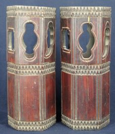 Pair of hexagon bamboo hat stand with original lacquer paint - China - late 19th/begin 20th century