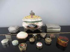 Collection of 15 special jewelry and pill boxes including cloisonné, shell, silver plated etc.