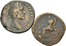 Roman Empire – lot of two AE sestertius – Antoninus Pius (138-161 A.D.) and Commodus (177-192 A.D.)