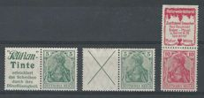 German Reich, 1911-1912, selection combinations, Michel W1.1, W2.9, S2.19