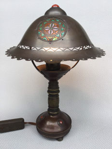 Jan Eisenloeffel - Unique transluscent enamel bronze lamp