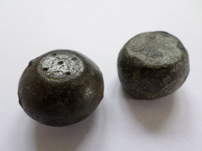 Early medieval Viking iron / copper-alloy barrel-shaped trade weights - 25 mm