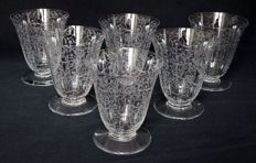 6 Baccarat crystal wine glasses, Michelangelo pattern - signed, France, early 20th century