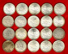 France – 1 Franc, 1908/1917 'Sower' (set with 20 coins) – Silver.
