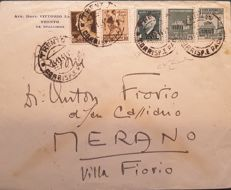 Social Republic of Italy, from Trento to Merano on 24/11/1944 - envelope with various stamps from the Kingdom of Italy and Social Republic