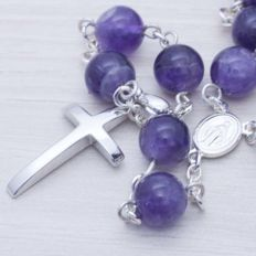 925/1000 Sterling Silver and Amethyst Rosary - Length: 65 cm