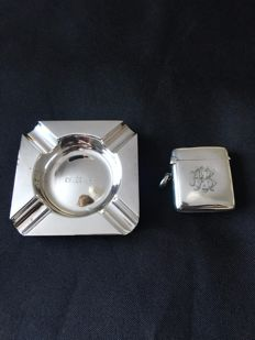 Silver ashtray London ,1932 and silver Vesta case Birmingham 1900