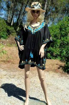 Embroidered layered look tunic - throw-on poncho